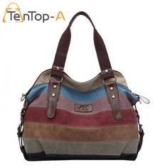 TenTop-A Rainbow Striped Canvas Shoulder Bag Women Casual Large Capacity Tote Female Fashion Splicing Washed Cloth Beach Handbag