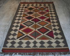 Dhurrie Yoga Mat Jute Wool Oriental Rugs Reversible Floor mat Decorative Kilim #Turkish