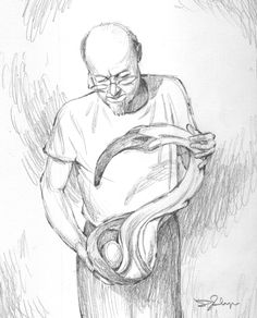 Lester's drawing a day - Gregory Pastorius with one of his sculptures - drawing art