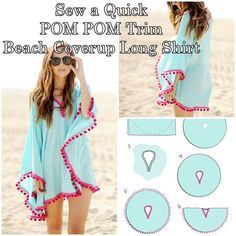 how to sew a quick POM POM trim beach coverup long shirt - Sewing (Swimsuit ) Homesteading  - The Homestead Survival .Com