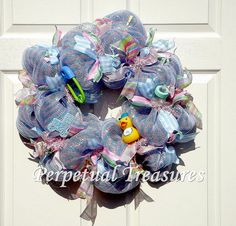 Baby Boy Deco Mesh Wreath  Blue Baby Wreath by PerpetualTreasures2