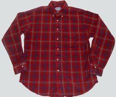 Vintage Sir PENDLETON Mens Dark Red Plaid Flannel Shirt L LARGE Wool Made in USA #Pendleton #ButtonFront