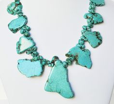 Turquoise Necklace Agate Handmade Beaded Jewelry with Silver Handmade Necklace. $38.50, via Etsy.