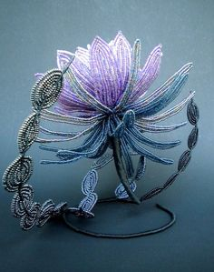 The Dark Queen French Beaded Flower by copperglass on Etsy