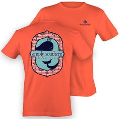 Simply Southern Preppy Whale Anchor Girlie Coral Bright T Shirt | SimplyCuteTees