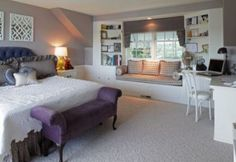 Love the window seat- . Houzz - Home Design, Decorating and Remodeling Ideas and Inspiration, Kitchen and Bathroom Design Beautiful Bedrooms, Traditional Bedroom, Bedroom Seating, Home, Guest Bedroom Remodel, Small Bedroom, Small Bedroom Remodel, Peaceful Bedroom, Bedroom Window Seat