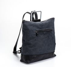 Black Leather Backpack / Leather Like Tote by EllenRubenBagsShoes