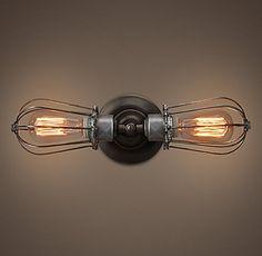 . PureLume ™ Retro Vintage dual cage lamp wall light incl 40W Edison bulb: Amazon.de: Lighting