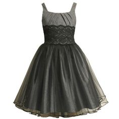 Amazon.com: Bonnie Jean TWEEN GIRLS 7-16 GREY BLACK PLEATED TWEED LACE WAIST TULLE SKIRT Special Occasion Wedding Flower Girl Party Dress: Clothing