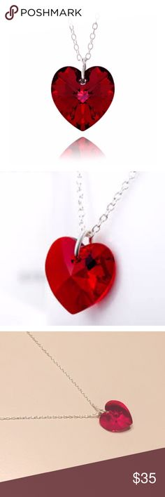 NWOT Ruby Red Swarovski Elements Heart Necklace BRAND NEW This authentic sterling silver necklace showcases a ruby red Swarovski elements Pendant. It dangles from an 18 inch rolo chain. Metal stamp: 925 silver. Width of Pendant is 14mm and height is 14mm. Clasp type is spring-ring. Swarovski Jewelry Necklaces