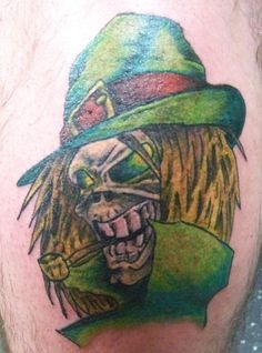 looks like an Irish Eddie from Iron Madien. - - #talesofthetatt #tattoo  #Irish #StPatricksDay- www.talesofthetatt.com Irish Tattoos, St Patricks Day, Iron, Steel