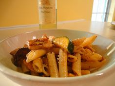 Epic Eats: Pasta with chicken, zucchini, and yellow squash in a garlic white wine sauce