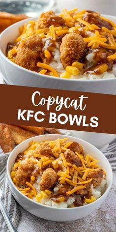 If you love takeout but would rather make it at home then you need to whip up these copycat KFC bowls from Tornadough Alli. With just 5 ingredients and only minutes to make it's a quick and easy dinner recipe. With mashed potatoes, popcorn chicken, gravy, corn, and cheese, this tasty recipe tastes just like the KFC favorite! Bhg Recipes, Copycat Recipes, Easy Dinner Recipes, Cooking Recipes, Dinner Ideas, Drink Recipes, Mashed Potato Bowl Recipe, Kfc Mashed Potatoes, Kfc Bowls Recipe