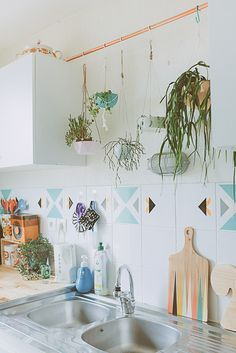 Hanging plants with copper pipe is a functional, unique and visually appealing idea!