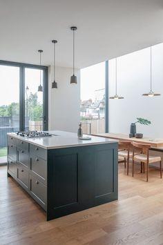 Charcoal House · Architecture & Design in Hackney Interior Cladding, Timber Cladding, Interior Architecture, Charcoal House, Charcoal Kitchen, House Extension Design, House Design, Hidden Door Bookcase, Hidden Doors
