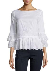 Tory Burch Ruffle-Sleeve Cotton Peplum Top, White, Women's, Size: 12