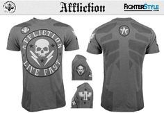 A slick new Affliction shirt joins the ranks of their bold winter collection as we look ahead to an exciting year of fights. As part of their performance c Mma Clothing, Mma Shorts, Winter Collection, Hoodies, Mens Tops, Jackets, Shirts, Clothes, Fashion