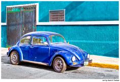 Classic Blue Volkswagen Beetle Colorful Mexico Art by Mark E Tisdale - Classic and Vivid Car Print available on canvas, metal, and acrylic as well as framed prints.