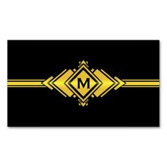 Gold & Black Art Deco Belt Monogram Business Card