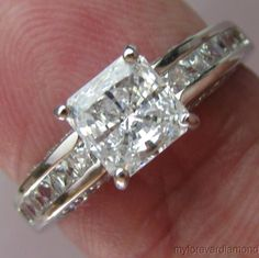 Real 14K solid White gold 1.72cts Solitaire Accents Princess cut Engagement ring