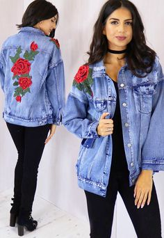 Oversized Boyfriend Denim Jacket with 3D Embroidered Rose in Blue & Red