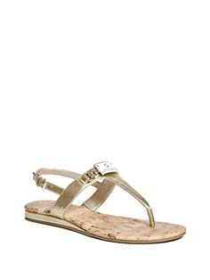 49b3f145c6d2a G by GUESS Women s Jemma T-Strap Sandals  These essential t-strap sandals  feature an enamel logo plaque with rhinestones and gold-tone details.