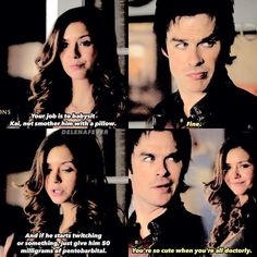 The Vampire Diaries 6x12: Elena and Damon | Aww they're so cute! #Delena