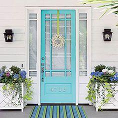 Fun Turquoise Front Door-love the starfish wreath!