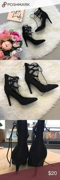 Lace Up Heels Lace up heels. Worn once. Super comfy. Price reflects condition Forever 21 Shoes Heels