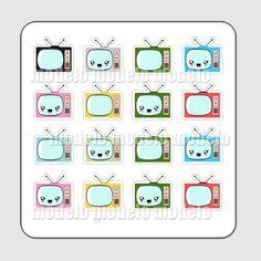 Cartela de adesivos - TV | Léa foto e arte | Elo7