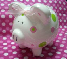 Piggy Bank dolled up with cricut Vinyl Crafts, Vinyl Projects, Paper Crafts, Cricut Cuttlebug, Cute Piggies, Cricut Creations, Photo Craft, Cricut Vinyl, Pink Polka Dots