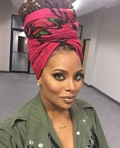 How to wear a scarf on your head turban twists 66 ideas My Hairstyle, Scarf Hairstyles, Braided Hairstyles, Top Model Usa, Eva Marcille, Curly Hair Styles, Natural Hair Styles, Headwraps For Natural Hair, African Head Wraps