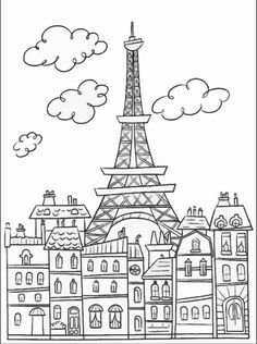 Free coloring page coloring-adult-paris-buildings-and-eiffel-tower. The Eiffel Tower : symbol of Paris, very cute drawing to print & color Cute Coloring Pages, Printable Coloring Pages, Coloring Sheets, Coloring Pages For Kids, Free Coloring, Coloring Books, Online Coloring, Kids Colouring, Thinking Day