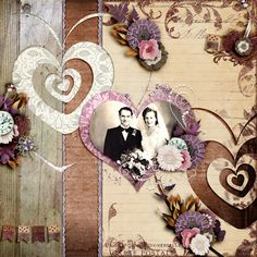 Kit: Yesterday's Blooms - Studio4 Designworks & Booland Designs Template: Two Hearts - Seatrout Scraps