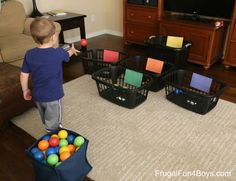 10 Ball Games for Kids - Ideas for Active Play Indoors! - Ball Games for Kids – Ideas for Active Play Indoors! – Frugal Fun For Boys and Girls 10 Indoor Ball Games for Kids - Toddler Learning Activities, Infant Activities, Games For Preschoolers Indoor, Indoor Games For Kids, Preschool Games, Color Games For Toddlers, Activities With Toddlers, Activities For 2 Year Olds Indoor, Teaching Toddlers Colors