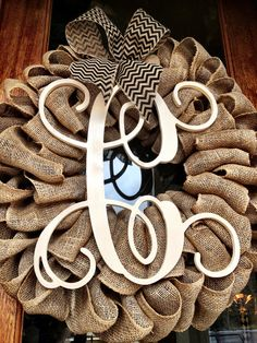 NEW Large Wooden Initial Monogram Burlap Wreath ~ Easter Spring Summer Year Round