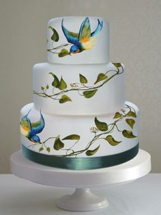 Gallery - Pictures of Hand Painted Cakes by MurrayMe Unusual Wedding Cakes, Small Wedding Cakes, Wedding Cake Photos, Wedding Cakes With Cupcakes, Beautiful Wedding Cakes, Beautiful Cakes, Cupcake Cakes, Bird Cakes, Bolo Floral