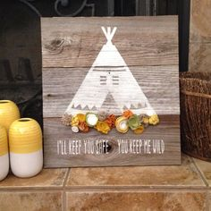 Wooden sign teepee with felt flowers I'll by PeabodyAndSassafras, $23.00