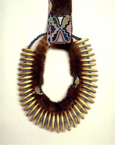 Native American Bear Claw Necklace from ca. 1835 | Bear claws, fur, glass beads…
