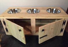 Rustic Dog Feeding Station With Cabinet Triple Diner Feeder - This Dog Animal Feeding Station Is Perfect For Keeping Feeding Areas Clean And Neat This Station Offers An Under Cabinet To Store Dog Food And Three Places For Dog Bowls Have Two Dogs Eat With Dog Station, Dog Feeding Station, Positive Dog Training, Basic Dog Training, Training Dogs, Dog Bowl Stand, Dog Food Bowls, Dog Food Storage, Storage Ideas