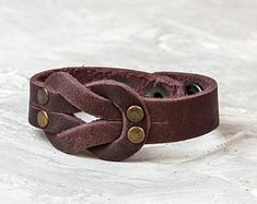 Thin leather bracelet, Brown leather wristband, Riveted men women bangle, Casual natural jewelry, Wrist wrap cuff, Rocker biker punk gift