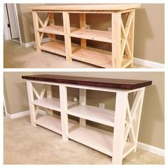 Rustic Wooden Console Table by GirlyBuilds on Etsy
