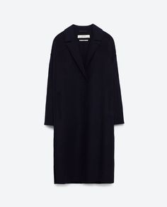 Zara Woman maschile Cappotto Blu Marina Lana Coat Navy Wool masculin