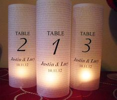 Wedding Table Number Luminary, Text Background Set Of 12