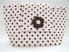 Porta fraldas - rosa com poá marrom | Denise Bierende | Elo7