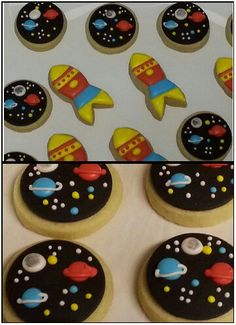 Space  themed sugar cookies.   Rockets and planets by Baked Ambition.