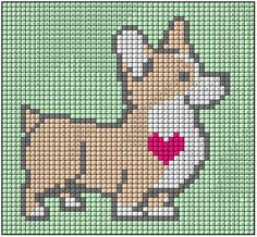 Hand Embroidery Projects, Hand Embroidery Patterns, Cross Stitching, Cross Stitch Embroidery, Cross Stitch Designs, Cross Stitch Patterns, Corgi Cross, Pony Bead Animals, Cross Stitch Animals