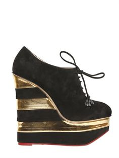 charlotte olympia suede striped laced wedges. $1349