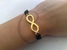 bracelet infinity black macrame,gold plated,tina's creations,16cm 6,3 inches #TinasCreations #handmademacrameadjustablebracelet