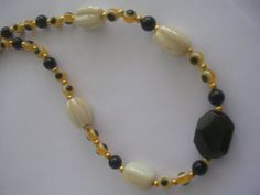 Bohemian Necklace Black Agate Natural stones  by JannasCraft, $18.00
